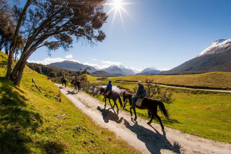 Experienced guides offer informative horse treks through the landscapes surrounding Glenorchy.